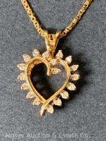 "14K Gold Heart-shaped Pendant with 18 Diamonds on 14K Gold Chain 20""long, box-shape; 3.3dwt - 15"