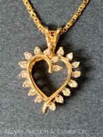 "14K Gold Heart-shaped Pendant with 18 Diamonds on 14K Gold Chain 20""long, box-shape; 3.3dwt - 16"