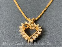 "14K Gold Heart-shaped Pendant with 18 Diamonds on 14K Gold Chain 20""long, box-shape; 3.3dwt - 17"
