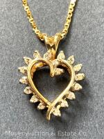 "14K Gold Heart-shaped Pendant with 18 Diamonds on 14K Gold Chain 20""long, box-shape; 3.3dwt - 18"