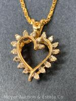 "14K Gold Heart-shaped Pendant with 18 Diamonds on 14K Gold Chain 20""long, box-shape; 3.3dwt - 19"