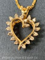 "14K Gold Heart-shaped Pendant with 18 Diamonds on 14K Gold Chain 20""long, box-shape; 3.3dwt - 20"