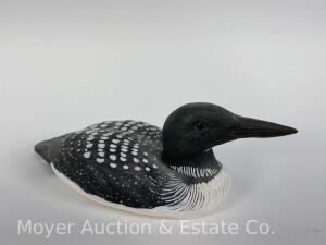 "Small Loon Carving, Signed W. Inkster, 8.75"" x 3"""
