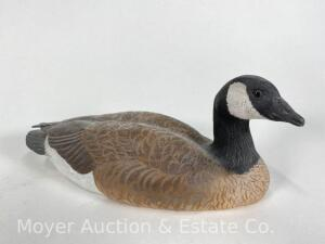 "Small Canada Goose Carving, Signed W. Inkster, 8"" x 3.25"""