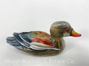 "Miniature Duck Decoy, Unsigned, Yellow/Red Bill, 5"" x 2.25"""