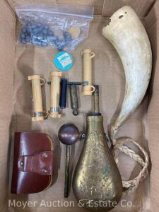 Group of Black Powder Accessories, Powder Flask, Horn, Etc.