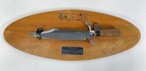 "Reproduction Bowie Knife by Carvel Knives, On Plaque, 14.5"" Long"