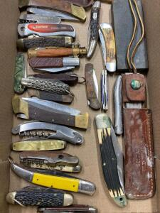 Group of Asst. Pocket Knives and Sharpening Stones, 20 Pieces