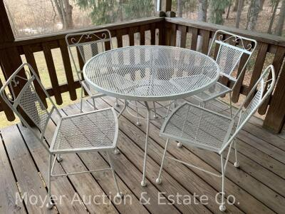 5pc. White Metal Patio Set: 36'' Round Table & 4 Chairs, all good condition