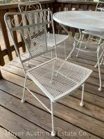 5pc. White Metal Patio Set: 36'' Round Table & 4 Chairs, all good condition - 3