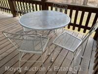 5pc. White Metal Patio Set: 36'' Round Table & 4 Chairs, all good condition - 4