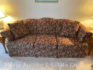 "Sofa, dark red floral upholstery, nice condition, 86"" wide"