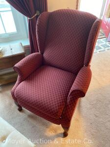 Wing-back Recliner, dark red upholstery, nice condition