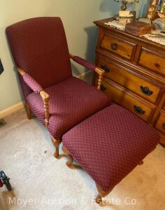 Red Upholstered Arm Chair with matching ottoman