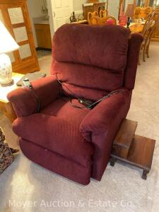 Lift Chair, dark red upholstery, works, some staining to cushion