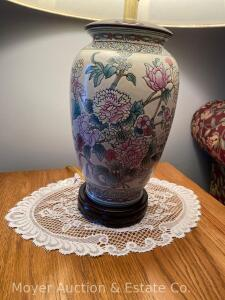 Pair of Floral Decorated Pottery Table Lamps
