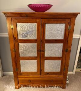 "Pine Pie Safe/Cabinet with Punched Tin Panels in double doors, drawer on bottom, 41"" wide, 52""h, newer"
