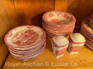 "44pc. Set of Johnson Bros. Red & White Dinnerware, setting for 8, appears to be ""Old Britains Castles"" pattern,"