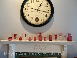 Group of 13 Cranberry Glass Pieces on mantle