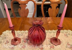 "Cranberry Glass Vase & Pair of Candlesticks, believed to be Fenton, Vase 10"", Candle Sticks 8"""