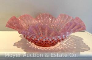 "Cranberry Hobnail Glass Bowl, 10.5""wide, probably Fenton"