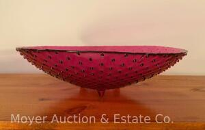 "Large Contemporary Red Hobnail Glass Bowl, 15.25"" Round"