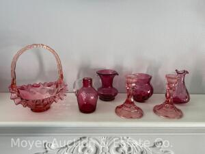 Group of Cranberry Glass