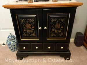 "Ethan Allen Hitchcock-style Cabinet, black with maple top, drawer below double doors, 30""wide"