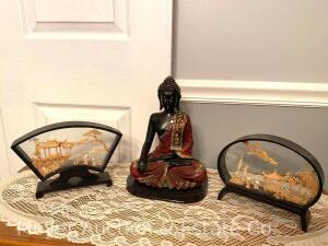 "Buda Figure (10"" tall) and 2 Framed Carvings"