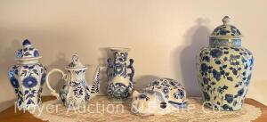 "Group of 5 Blue & White Decorative Pottery Pieces, tallest is 12"", most is TJ Maxx"