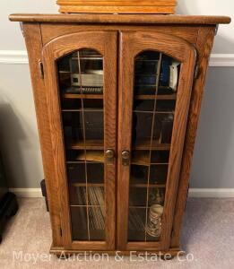 "Oak Cabinet with double doors, 28"" wide x 45"" tall"