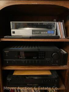 Stereo System Components: Onkyo TX-8011 Stereo Receiver, Realistic LAB-1600 Turntable, Sony 5disc CD Player & 2 small RCA Speakers, & remotes, works