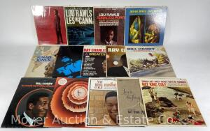 Group of 14 Record Albums: 3 Nat King Cole, 3 Lou Rawls, 3 Ray Charles, 1 Stevie Wonder, 2 Jonah Jones, & 2 Bill Cosby