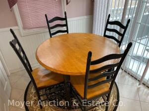 "5pc. Kitchen Set: round table & 4 ladder-back chairs, black legs/base with maple-like top, 47""wide, good condition"
