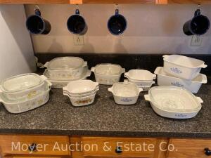 Group of Corning Ware, 15pcs. some with lids, 3 patterns