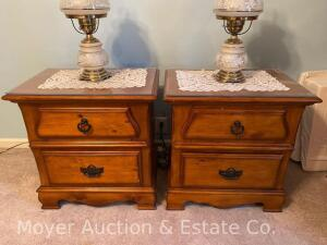 "Pair of Night Stands, each with 2drawers, 25"" wide x 26""h, exc. condition, each has a piece of plexiglass protecting top, purch. new in 2011"