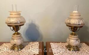 "Pair of Floral Glass Table Lamps with chimneys, night lites in base, both exc. condition, 20""h"