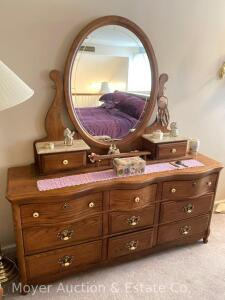 "Oak 9 Drawer Dresser with Oval Mirror Top Piece & 2 Small Drawers(close but does not match) nice condition, 66"" Wide"
