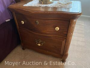 "Pair of Oak 2 Drawer Night Stands, nice condition, 26"" Wide"