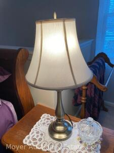 Pair of Brushed Metal Table Lamps (on night stands)