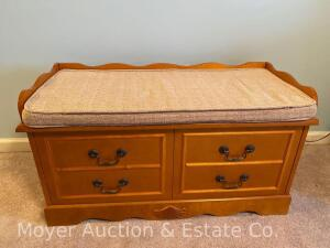 "CORRECTION* Blanket Chest with Cushioned Bench-top, newer, cedar-look inside but not cedar, 36"" wide"
