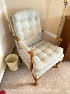 Blue Upholstered Arm Chair, good condition