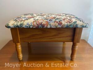 "Foot Stool, floral upholstered top, flip top, 16"" wide"