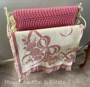 "White Iron Quilt Rack with 2 Throws & an Afghan, 26"" wide"