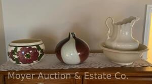 White Ironstone Pitcher & Bowl (not matching and cracked) and pottery