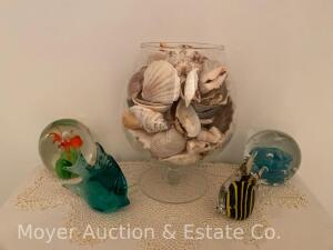 4 Paper Weights and Group of Sea Shells