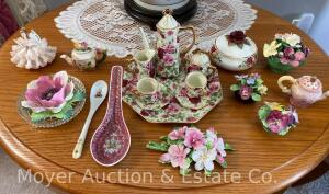 Small Group of Decorative Flowers and China