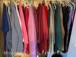 Group of Ladies Clothes and Sweatshirts in Downstairs Bedroom and Office Closets, Most 2XL and 3XL