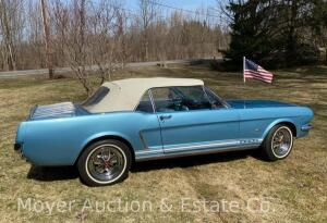 1965 Ford Mustang Convertible, 289cu.in. V8, automatic trans., rally wheels, Rally-Pac, A/C, odometer shows 30,128 mi., runs & drives good, new batt.