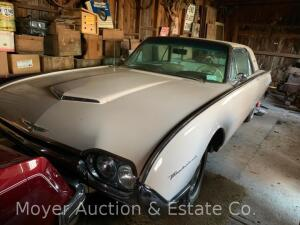 1962 Ford Thunderbird, V8, automatic trans., PS/PB, odometer shows 77,070 mi., new battery, engine runs but roughly otherwise appears good condition